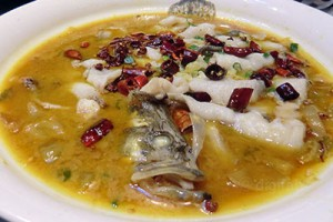 fish soup with pickled greens